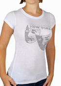 Rhinestoned Broadway Masks White Fitted Tee