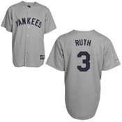 Yankees Babe Ruth Grey Throwback Replica Jersey