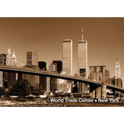 WTC & Brooklyn Bridge Photo Magnet