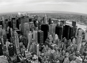 Midtown Panorama BW Photo Magnet