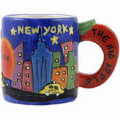 Mini Mug Ceramic Hand Printed NY Design Apple Handle