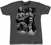 Bob Marley Quadri-Pose Charcoal Adult T-Shirt