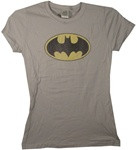 Batman Light Gray Ladies Fitted Tee