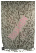 NYC Chalkboard Graffiti Brown Scarf