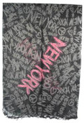 NYC Chalkboard Charcoal Graffiti Scarf