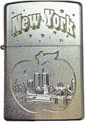 NY Big Apple Skyline Satin Chrome Zippo