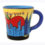 NY Handpainted Embossed Mug Orange Sky