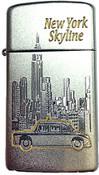 NY Skyline Taxi Satin Chrome Zippo