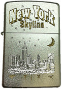 NY Night Skyline Satin Chrome Zippo
