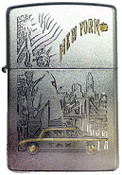 NYC Icons Flag Satin Chrome Zippo