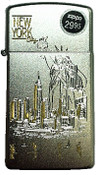 NYC Liberty Skyline Slim Satin Chrome Zippo