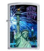 NY Liberty Blue Fireworks Satin Chrome Zippo