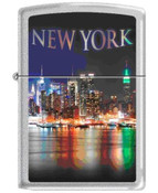 NYC Skyline at Night Satin Chrome Zippo