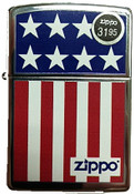 US Flag Stars and Stripes Polish Chrome Zippo