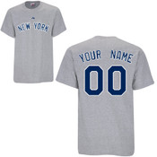 NY Yankees Personalized Grey Adult T-Shirt