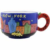 Soup Mug Ceramic Handpainted NY Design Apple Handle