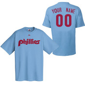 Philadelphia Phillies Personalized Cooperstown Lt Blue Adult T-Shirt