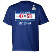 NY Giants Super Bowl XLVI Champions 4X License Plate T-Shirt