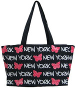 Robin-Ruth NY Navy-Pink Butterfly Tote Bag