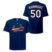 Adam Wainwright T-Shirt - Navy St.Louis Cardinals Adult T-Shirt