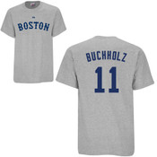 Clay Buchholz T-Shirt - Grey Boston Red Sox Adult T-Shirt
