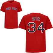 David Ortiz T-Shirt - Red Boston Red Sox Adult T-Shirt