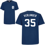 Justin Verlander T-Shirt - Navy Detroit Tigers Adult T-Shirt