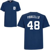 Rick Porcello T-Shirt - Navy Detroit Tigers Adult T-Shirt