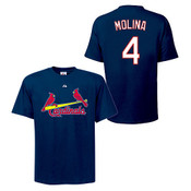 Yadier Molina T-Shirt - Navy St.Louis Cardinals Adult T-Shirt