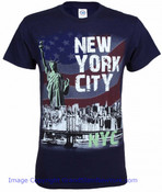 NYC Distressed Liberty Skyline Navy Adult T-Shirt
