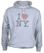 I Love NY Rhinestone Hooded Sweatshirt - Grey