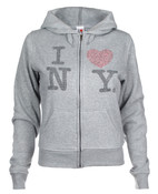 I Love NY Rhinestone Ladies Zipper Hoodie - Grey