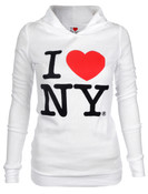 I Love NY Fashion Fit Thermal Hoodie - White