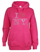 I Love NY Rhinestone Hooded Sweatshirt - Fuchsia