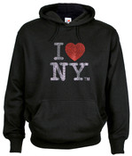 I Love NY Rhinestone Hooded Sweatshirt - Black