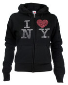I Love NY Rhinestone Ladies  Zipper Hoodie - Black