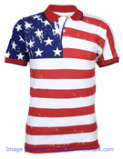 American Flag Distressed Full Body Adult Polo Shirt - front
