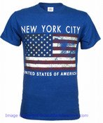 NYC US Flag Distressed Navy Adult T-Shirt