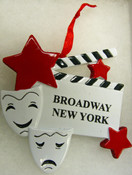 Broadway Masks and Clapboard New York Ornament