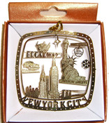 NYC Icons Square Gold Foil Ornament