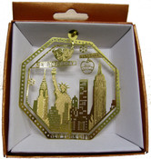 NYC Skyline Octagon Gold Foil Ornament