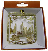 NYC Icons Shield Shaped Gold Foil Ornament