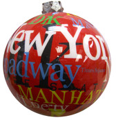 NYC Letters Red Blown Glass Ornament