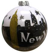 NYC Night Skyline Blown Glass Ornament