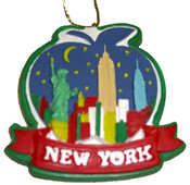 NY Night Skyline Ceramic Painted Ornament