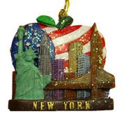 NYC Skyline Us Flag Glitter Ornament