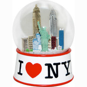 I Love NY White 100mm Snowglobe