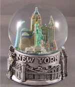 NY Skyline and Sea Pewter 100mm Snowglobe