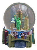 NY Skyline and Bridge 100mm Snowglobe - W WTC