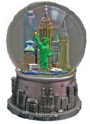 NY Skyline Silver 100mm Snowglobe - W WTC
